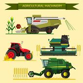 Vector set of agricultural vehicles and farm machines. Tractors, harvesters, combines. Illustration in flat design. poster