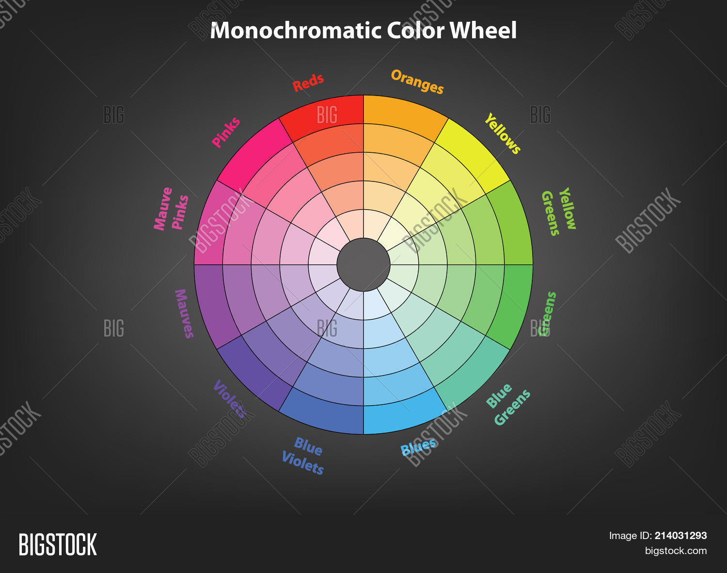 monochromatic color wheel color scheme theory vector isolated or grey background & Monochromatic Color Vector \u0026 Photo (Free Trial) | Bigstock