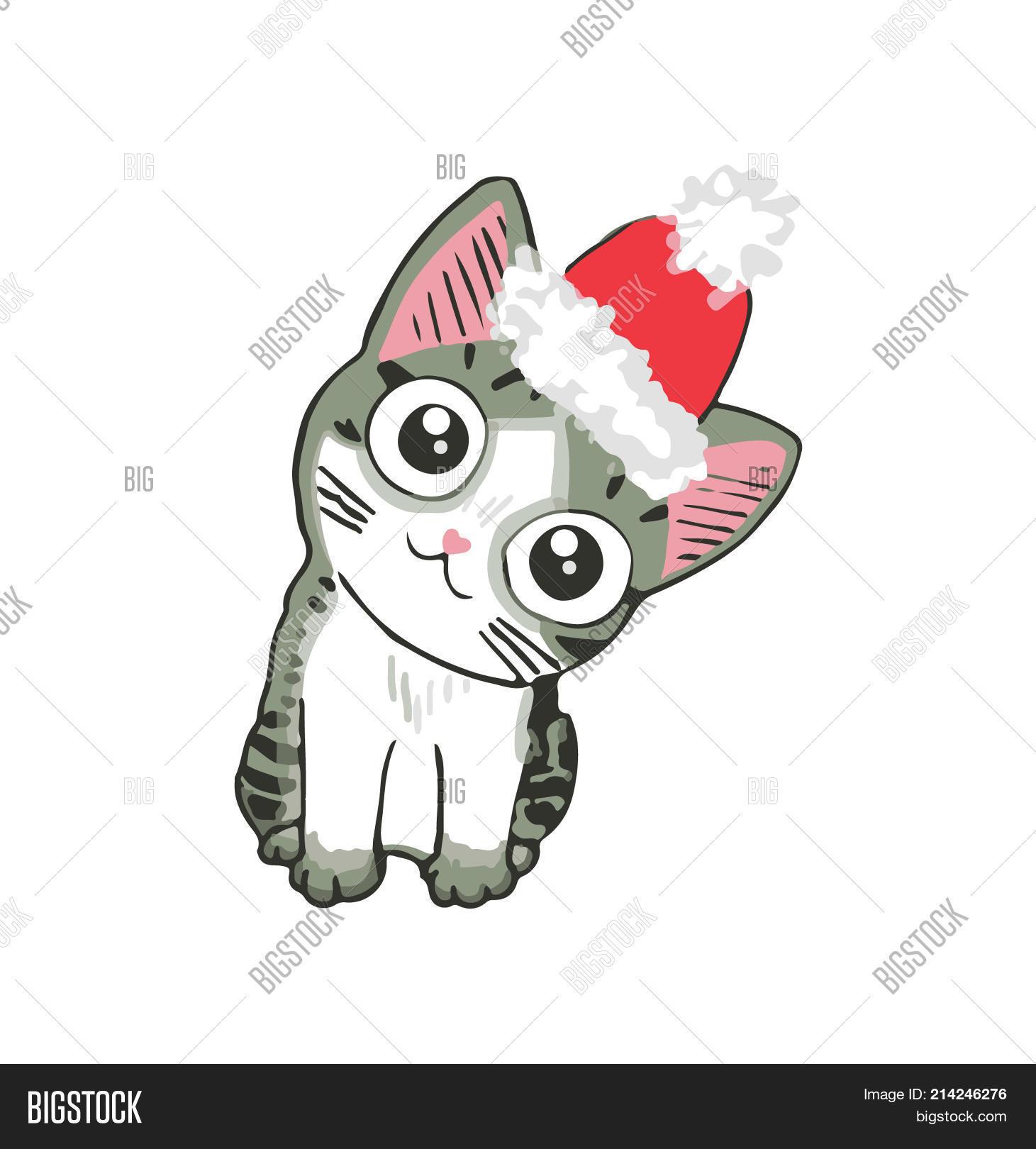 Cute Kitten Santa Hat Image Photo Free Trial Bigstock