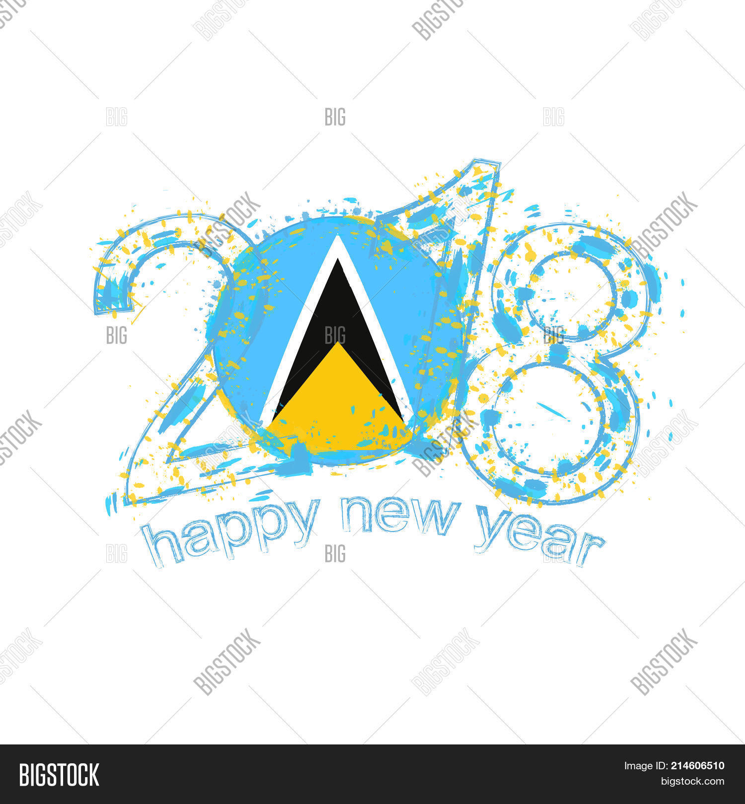 2018 happy new year saint lucia grunge vector template for greeting card and other
