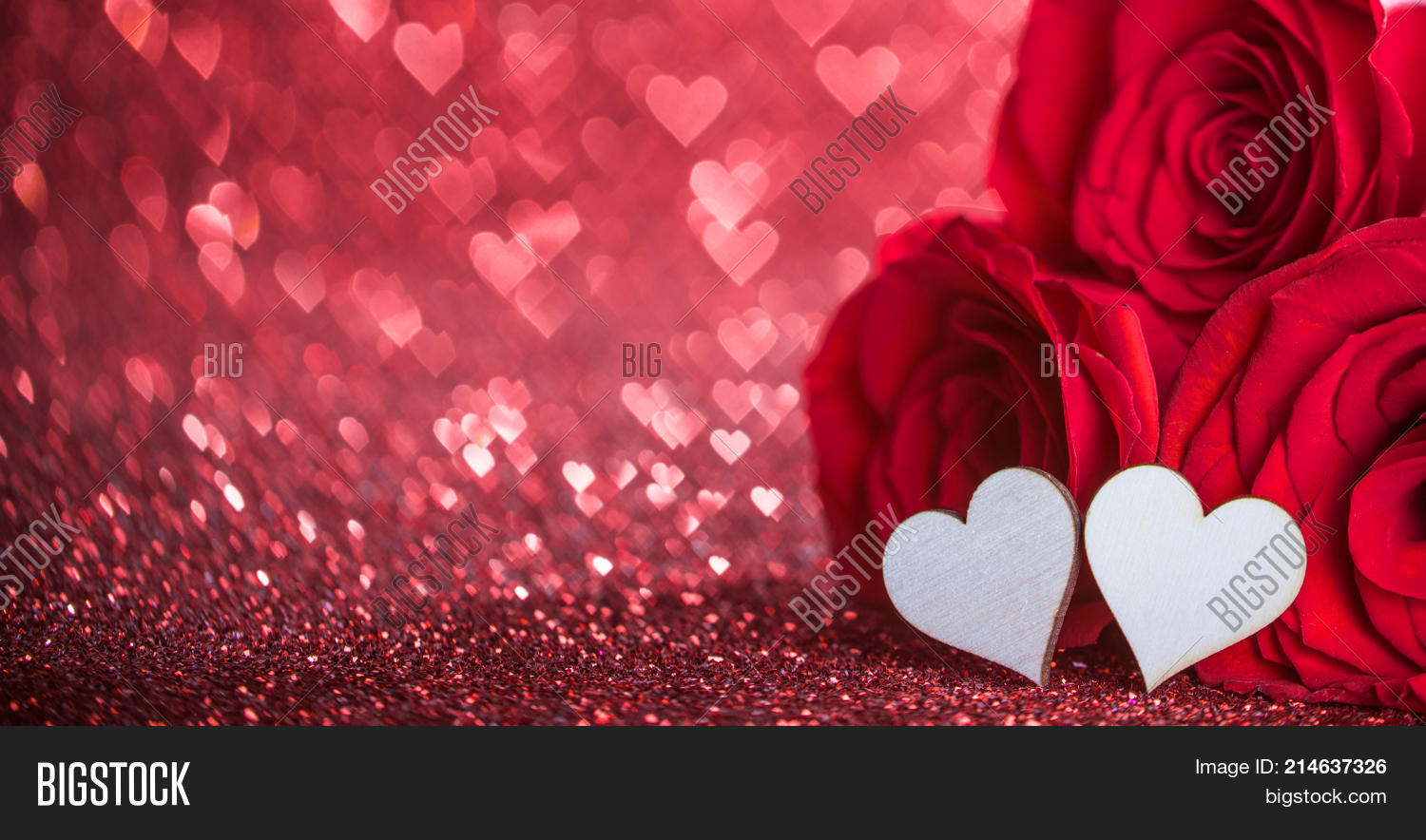 Roses Hearts On Red Image Photo Free Trial Bigstock