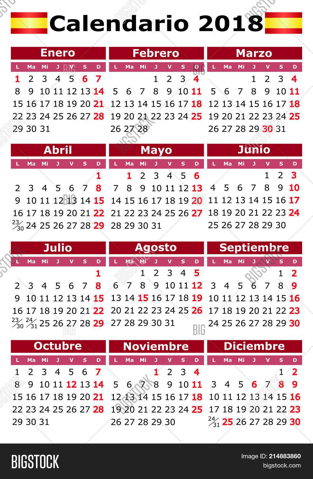 Calendar Days Of The Week In Spanish.Spanish Calendar 2018 Vector Photo Free Trial Bigstock