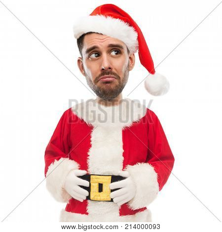 christmas, emotion, facial expressions and people concept - sad unhappy young man in santa claus costume (funny cartoon style character with big head)
