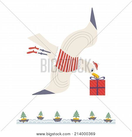 Cute sea gull icon. Fun colorful cartoon. Playful gull bird with Christmas gift box, boats wit fir trees. Seabird celebrate winter holiday season. Stylized nautical banner background for new year eve