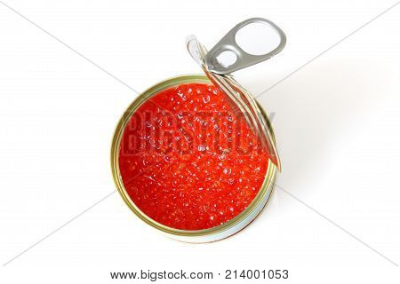 red caviar isolater on white background .