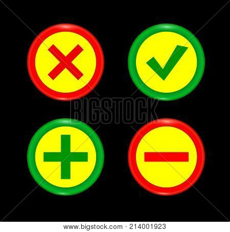 Tick plus minus icon set  green circle 3D button . Add cancel or the plus and minus signs on buttons or circles icon isolated on black background. Vector illustration