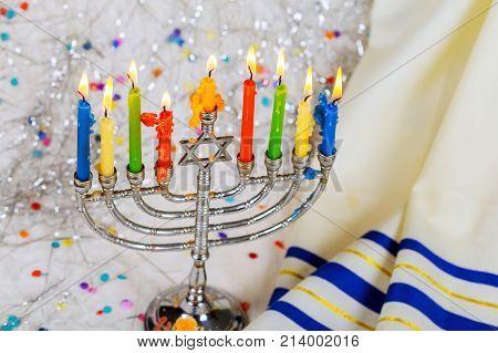 Jewish Symbol Jewish Holiday Hanukkah With Menorah Traditional Candelabra