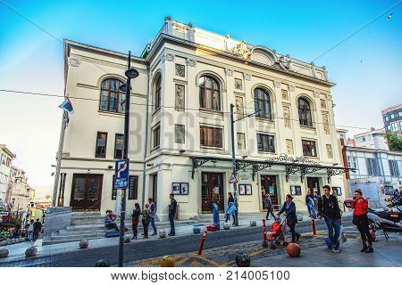 ISTANBUL TURKEY : Exterior wide angle shot of Sureyya Opera theater famous opera hall and touristic landmark at Kadikoy district of Istanbul on October 4 2017