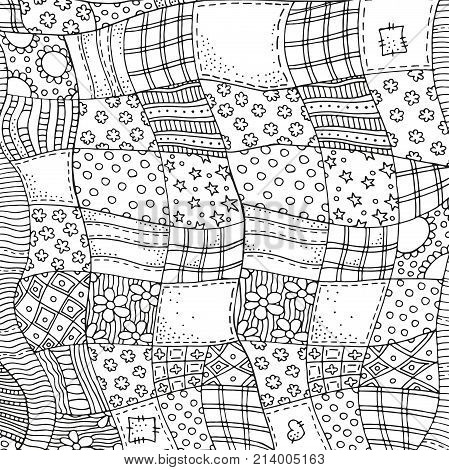 Quilt Blanket Background. Adult Coloring Book Page.