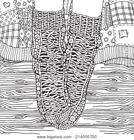 Wool socks quilt blanket wooden floor. Zentangle style. Adult Coloring book page. Black and white. Hand-drawn sketch.