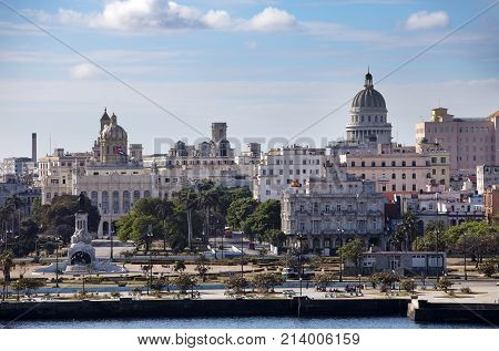 Havana. View of the old city through a bay from Morro's fortress.
