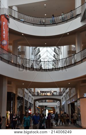 PROVIDENCE, RHODE ISLAND - AUG 12: Providence Place Mall in Rhode Island, as seen on Aug 12, 2017. The 1.4 million sq. foot facility was constructed in 1999 at a cost of $460 million.