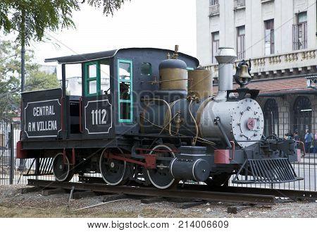 HAVANA CUBA - JANUARY 27 2013: old steam locomotive at the center of Havana