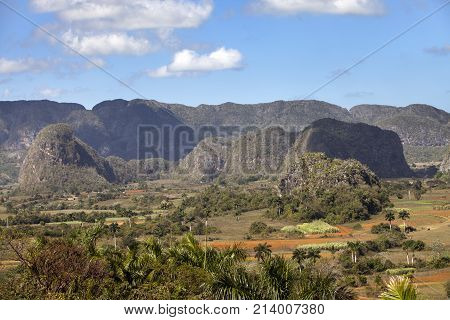 Panoramic view on Vinales Valley. Cuba landscape in sunny day