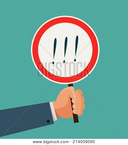 Hand holding sign or plate. Business concept. Vector flat illustration