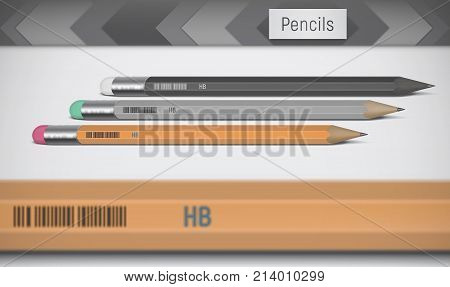 A vector image depicting realistic pencils in orange gray and black colors. In the foreground lies a partially blurry out-of-focus pencil. Background is abstract.