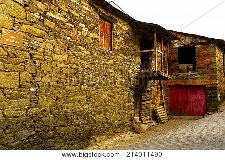 RIO DE ONOR, PORTUGAL - September 21, 2017: Rio de Onor is a village in northern Portugal with traditional houses on two levels being the upper level for the family and the lower level for animals cereals and other products of the land