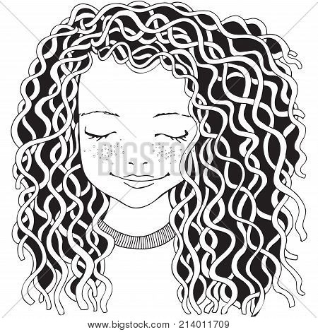Cute Girl. Coloring Book Page For Adult.