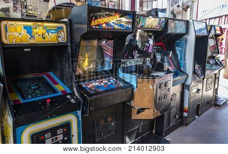 Manitou Springs CO/USA - September 6 2016 - A collection of classic arcade machines at Arcade Amusements in Manitou Springs Colorado.