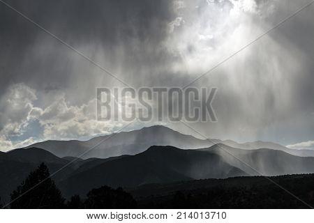 A quick rain shower at Garden of the Gods in Colorado Springs Colorado.