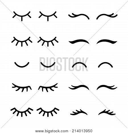 Vector eyelashes. Closed eyes. Icon set Cute design