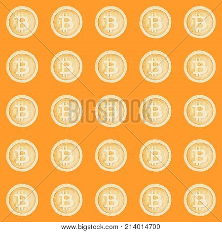 Watercolor Bitcoin Sign Pattern. Virtual Money Concept. Illustration For Design, Print Or Background