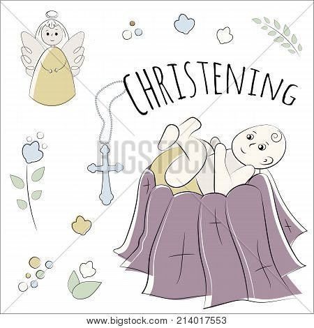 Baptism of the child in the church, christening. Vector set of isolated elements, drawn by hand. Used for postcards, congratulations, wallpapers, prints, backgrounds.