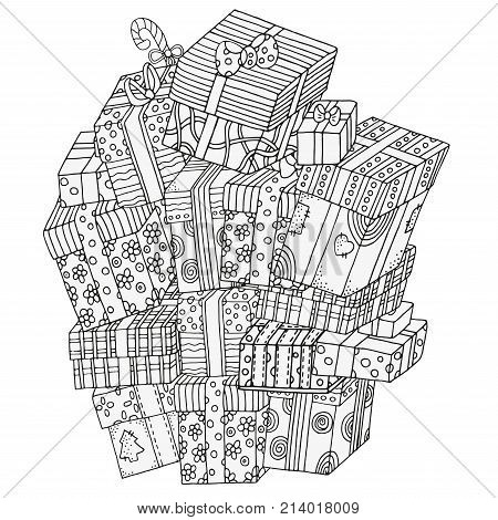 Pile of gift boxes vector illustration. Pattern for coloring book. Christmas hand-drawn decorative elements in vector. Black and white. New year gifts