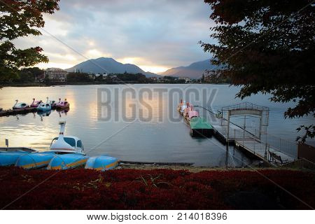 Boat station on Lake Kawaguchi scenic view, Japan