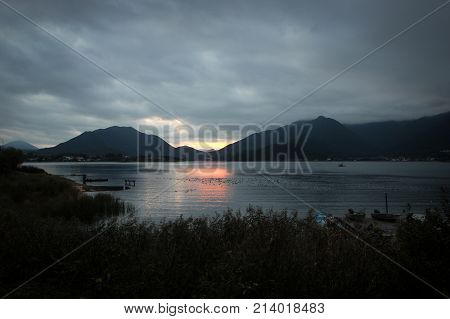 Scenic view of Lake Kawaguchi under clouds, Japan