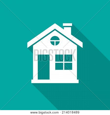 House icon with long shadow. Flat design style. House simple silhouette. Modern minimalist icon in stylish colors. Web site page and mobile app design vector element.