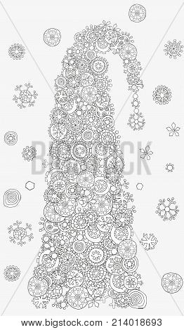 christmas tree pattern for coloring book christmas hand drawn decorative elements in vector