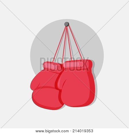 Boxing gloves hanging on a nail. Vector Flat illustration. Template for print, t-shirt, flyer, poster or art works.