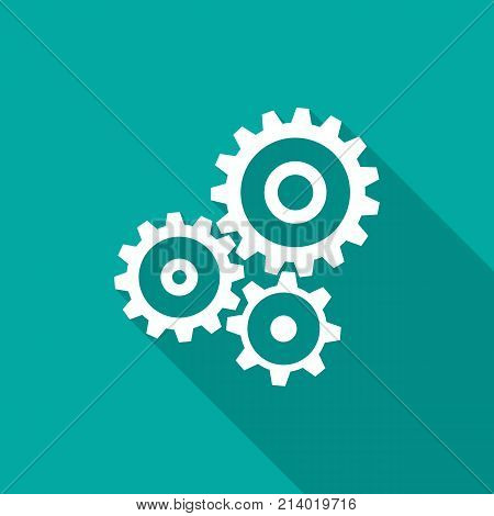 Cogwheel gear mechanism icon with long shadow. Flat design style. Mechanism simple silhouette. Modern minimalist icon in stylish colors. Web site page and mobile app design vector element.