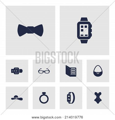Collection Of Sunglasses, Woman Hat, Bow Tie And Other Elements.  Set Of 10 Decorating Icons Set.