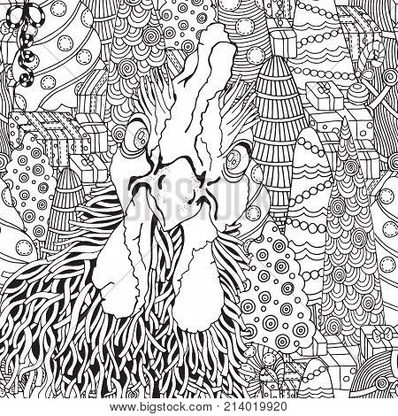 Hand-drawn vector rooster. Black and white. Doodle zentangle style. Symbol of 2017 New Year. Cockerel rooster chicken bird. Chinese new year holiday. Coloring book page for adult.
