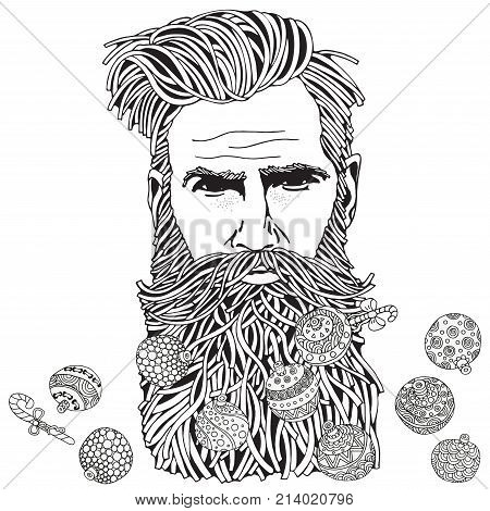 Bearded hipster man. Coloring book page for adult. Hand drawn hipster man with long beard and Christmas balls. Black and white. Christmas balls. Line art. Doodle style.