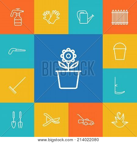 Collection Of Scythe, Secateurs, Harrow And Other Elements.  Set Of 13 Horticulture Outline Icons Set.