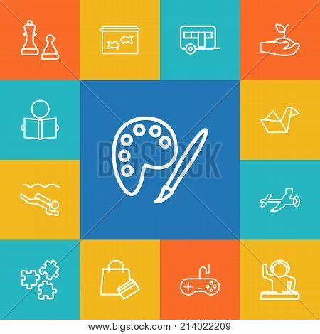 Collection Of Video Game, Aeromodeling, Painting And Other Elements.  Set Of 13 Lifestyle Outline Icons Set.