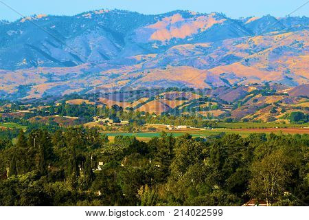 Community of Santa Ynez which is in the heart of Santa Barbara Wine Country surrounded by rural mountains taken in Santa Ynez, CA
