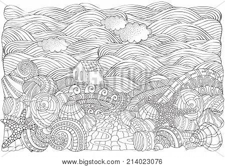 Lighthouse and shells seascape. Coloring book page for adult. A4 size. Waves sea art background. Pattern for coloring book. Hand-drawn doodle zentangle tribal design elements