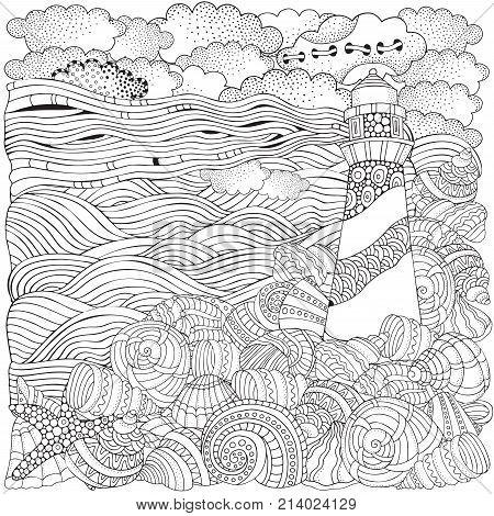 Lighthouse And Shells, Seascape.