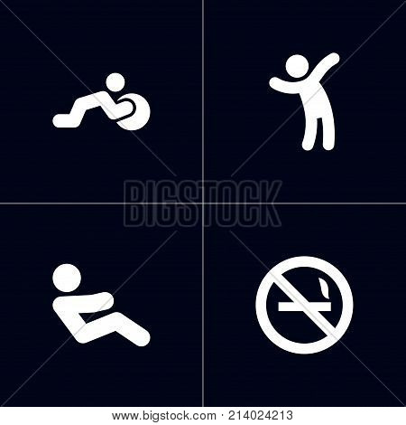 Collection Of Cigarette Forbidden, Do Abs, Stability Ball Exercise And Other Elements.  Set Of 4 Bodybuilding Icons Set.