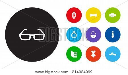 Collection Of Necktie, Diamond, Smart Watch And Other Elements.  Set Of 10 Decorating Icons Set.