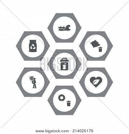 Collection Of Paper, Volunteer, Sea And Other Elements.  Set Of 7 Bio Icons Set.