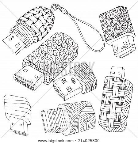 Vector USB Flash Drive isolated on white background. Usb flash disk in doodle zentangle zen art style. Adult coloring book. Hand-drawn sketch.