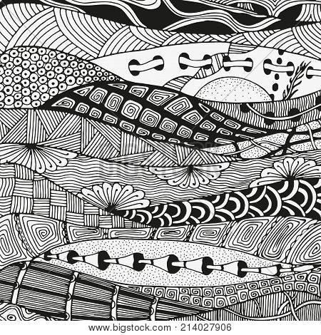 Black and white artistically tribal Navajo vector pattern. Ethnic pattern. Hand-drawn ethnic floral doodle vector aztec abstract art zentangle tribal design element. Coloring book