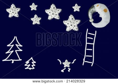 Small star clambers to group of stars near sleeping moon on navy blue background