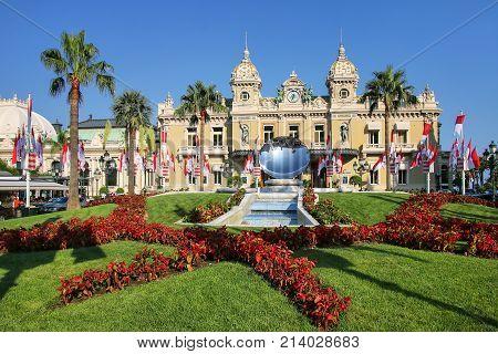 Monte Carlo, Monaco - July 11: Monte Carlo Casino With Garden On July 11, 2015 In Monaco. Monte Carl