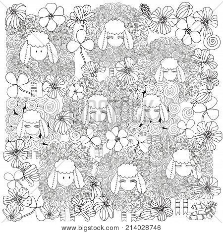 Coloring Book Page For Adult And Children.